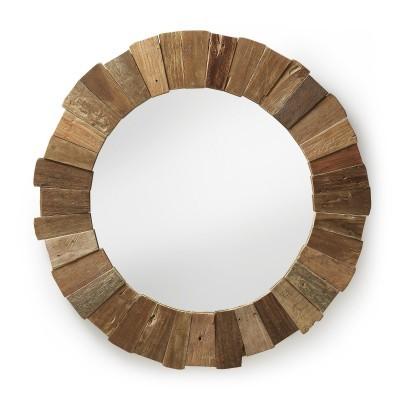 Espelho Indy em madeira teca, Ø110 cm