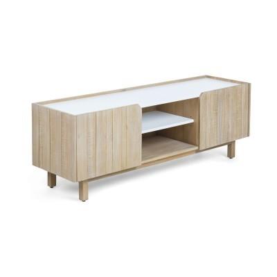 Móvel de TV em madeira de acácia natural, 160x55 cm