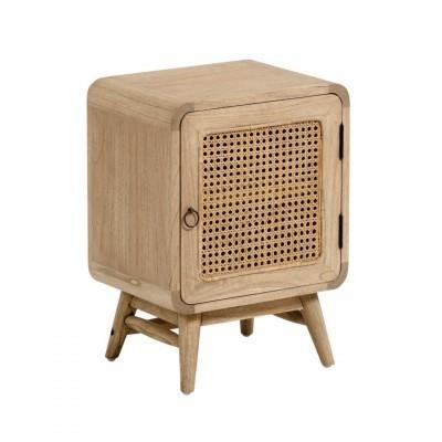 Mesa de cabeceira Kalú, madeira de mindi/rattan, 40x30x55