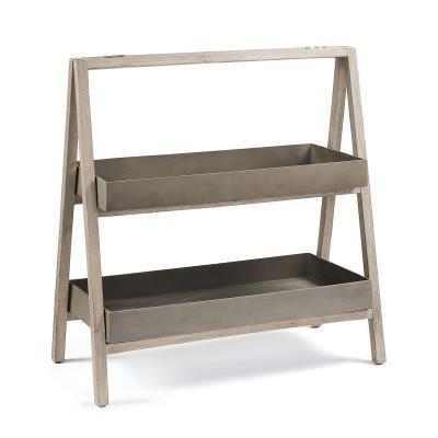 Estante p/vasos, madeira de acácia/poli-cimento, 97x100 cm