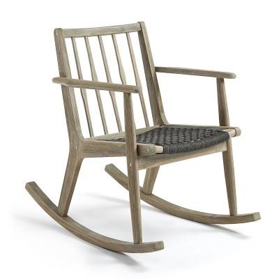 Cadeira de baloiço em madeira de acácia natural