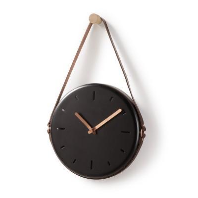 Relógio de parede em metal, preto, Ø21x34 cm