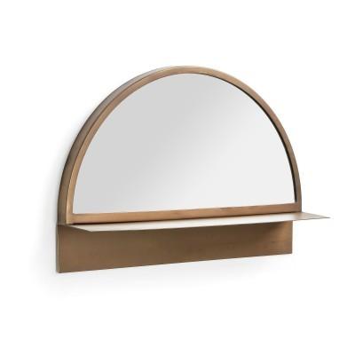Espelho Clubb, c/prateleira, metal, dourado, 34x50 cm