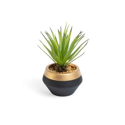 Planta artificial, c/vaso cerâmica, preto/dourado, Ø15x18 cm
