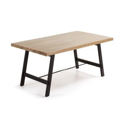 Mesa de jantar em madeira de acácia natural, 160x90 cm