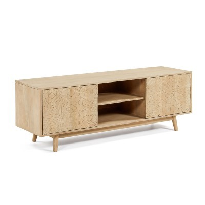 Móvel TV em madeira de mangueira natural, 55x160 cm