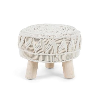 Repousa-pés em madeira manga c/forro em malha, Ø40x30 cm
