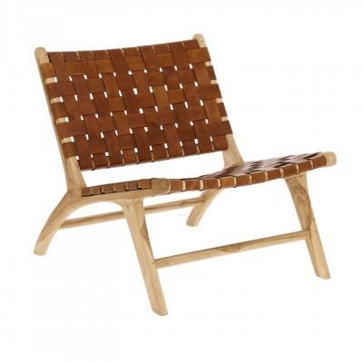 Cadeirão Calita, madeira teca/couro natural, 65x70 cm