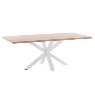 Mesa de jantar Arge, melamina de carvalho/metal, 200x100 cm