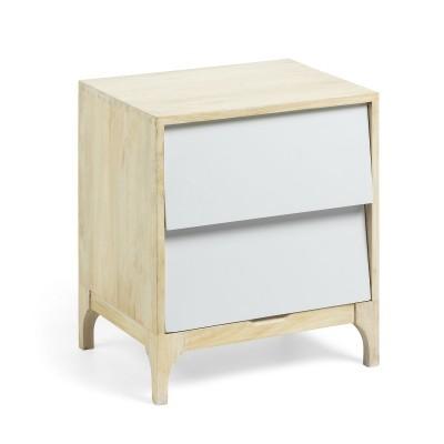 Mesa de cabeceira em madeira de mangueira, 45x50 cm