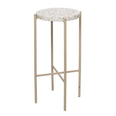 Mesa de apoio em pedra terrazo/metal, Ø28x50 cm
