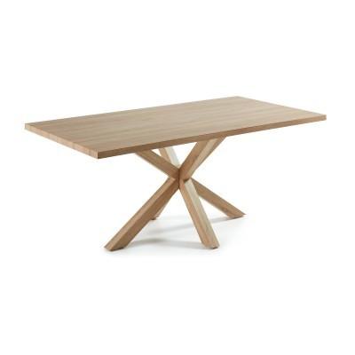 Mesa de jantar em melamina de carvalho/metal, 160x100 cm