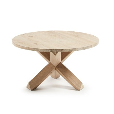 Mesa de centro em madeira de carvalho natural, Ø65x45 cm