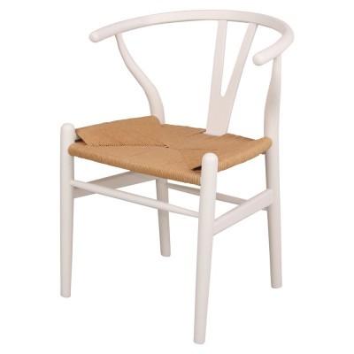 Cadeira Wishbone, madeira faia/rattan, branco, 56x54x78