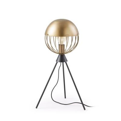 Candeeiro de mesa Glob em metal, dourado/preto, Ø23x64cm
