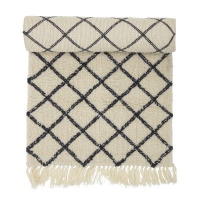 Tapete Berbere, lã natural, branco/preto, 70x200 cm