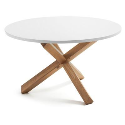 Mesa de jantar em madeira de carvalho/MDF lacado, Ø135x75 cm