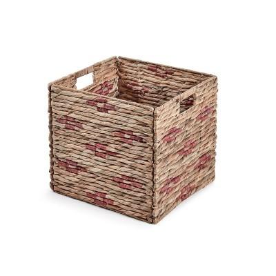 Caixa de arrumação em vime/metal, rosa, 32x35 cm