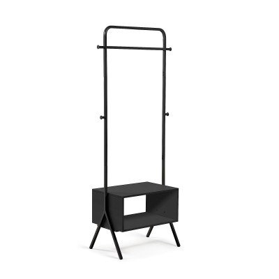 Porta cabides em metal/melamina, preto, 59x180 cm