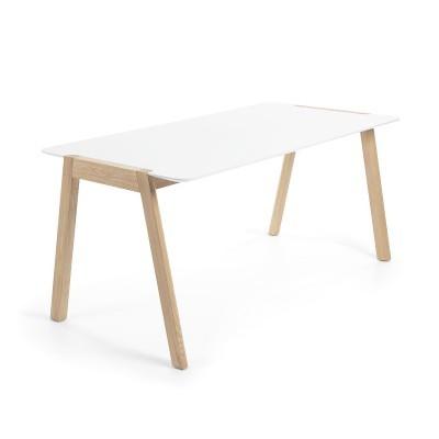 Mesa de jantar, madeira de freixo/MDF lacado, 140x80 cm