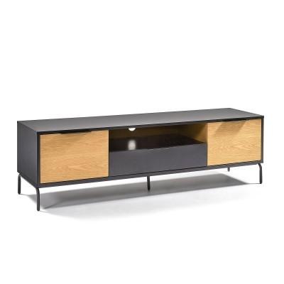 Móvel de TV, madeira de carvalho/MDP lacado, 50x170 cm