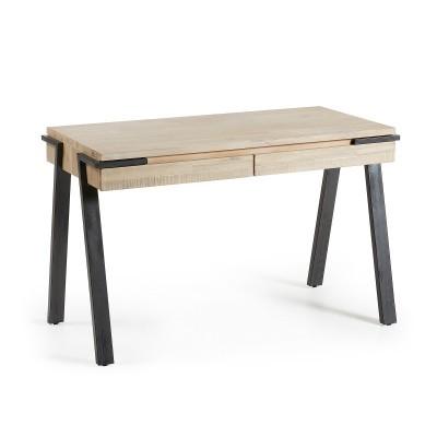 Secretária Tinn, madeira de acácia natural, 77x125 cm