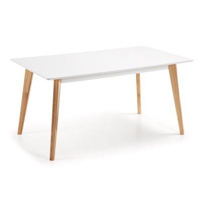Mesa de jantar em madeira de carvalho/MDF lacado, 160x90 cm