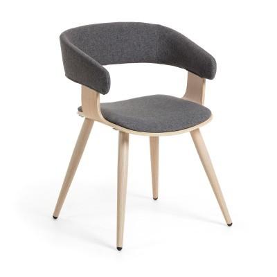 Cadeira Hellman, estofada, madeira de carvalho, cinza