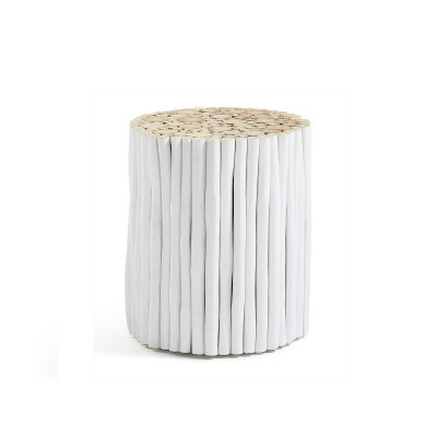 Tamborete em madeira de teca natural, Ø35x40 cm