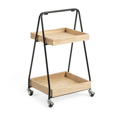 Mesa de apoio em madeira carvalho/metal, c/rodas