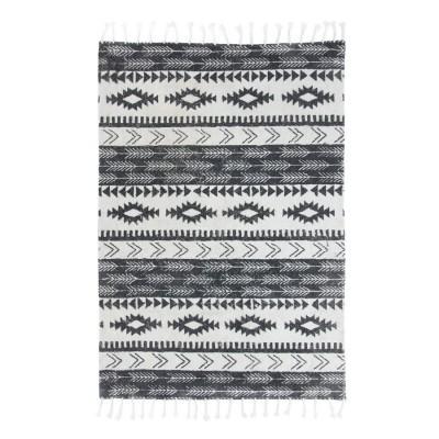 Tapete em algodão, preto/branco, 230x160 cm