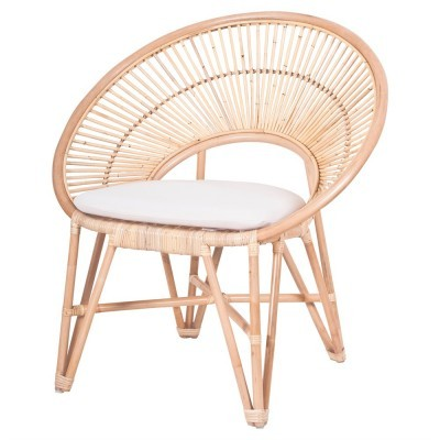 Cadeirão Remoon, c/almofada, bambú natural, 59x74,5 cm