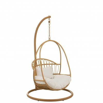 Cadeira suspensa p/criança, metal/vime, castanho, 103x93x155