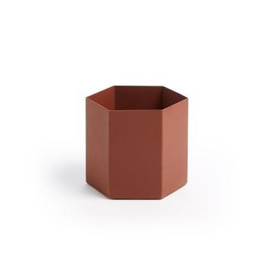 Vaso em metal, marrom, Ø13x13 cm