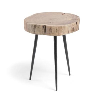 Mesa auxiliar em madeira de acácia/metal, Ø34x40 cm