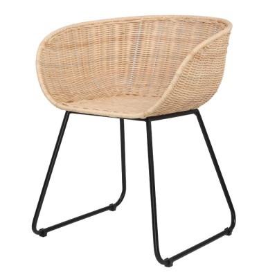 Cadeira em vime natural/metal, 56x76 cm