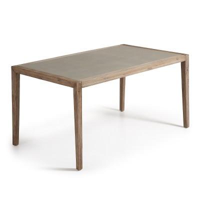 Mesa de jantar em madeira de acácia c/tampo em poli-cimento