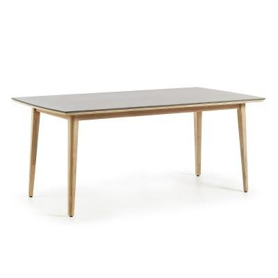 Mesa de jantar em madeira de eucalipto c/tampo em poli-cimento
