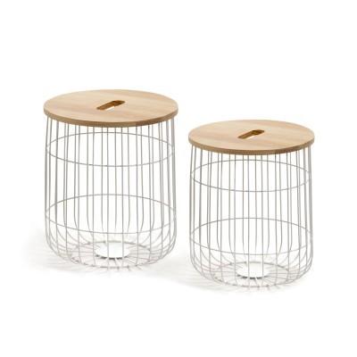 Mesas auxiliares Melle, madeira de pinho/metal, (Conj.2)