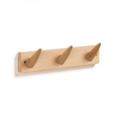 Cabide de parede Nattan, madeira de carvalho, 10x40 cm