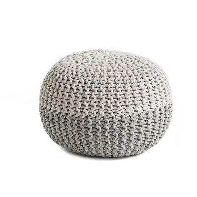 Puff em malha de croché, algodão, Ø50x35cm