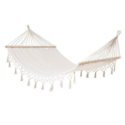 Cama de rede c/franjas, branco, 190x105 cm