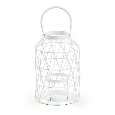 Lanterna decorativa, metal, branco, Ø18x38 cm