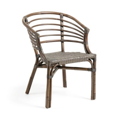 Cadeira c/braços, vime natural, marron