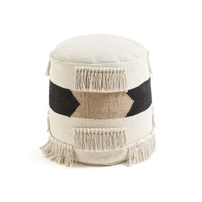Puff Natalia, algodão, bege/preto, 45x50 cm