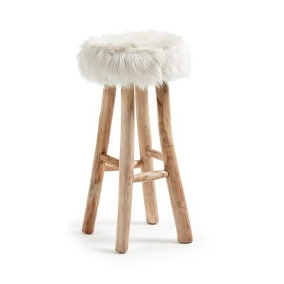 Tamborete em madeira teca c/forro em pele, Ø35x76 cm