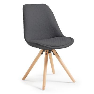 Cadeira Lara, estofada, assento acolchoado, cinza escuro
