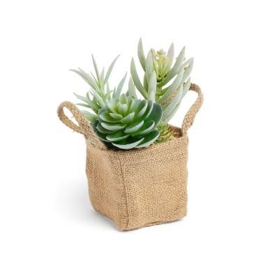 Planta artificial, c/bolsa em linho, 13x20 cm