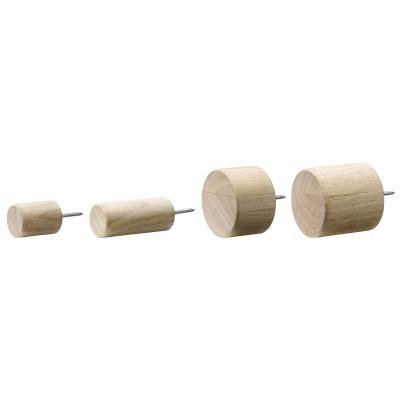 Cabides de parede Hook, madeira de seringueira, (Conj.4)
