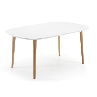 Mesa extensível oval, madeira faia/MDF lacado, 160(260)x100 cm